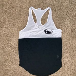 Pink VS Victoria's Secret white black muscle tank